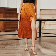 Jacquard High Waist Slit Skirt