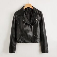 Zipper Front PU Leather Biker Jacket