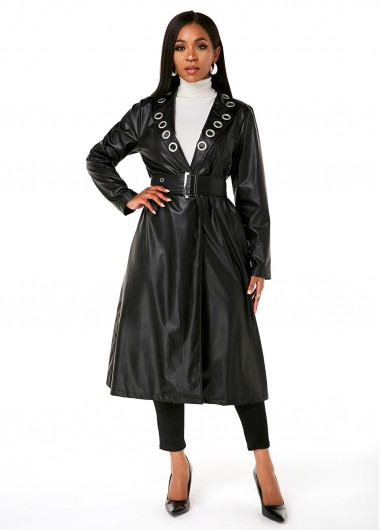 Buckle Belted Grommet PU Leather Trench Coat - 2XL