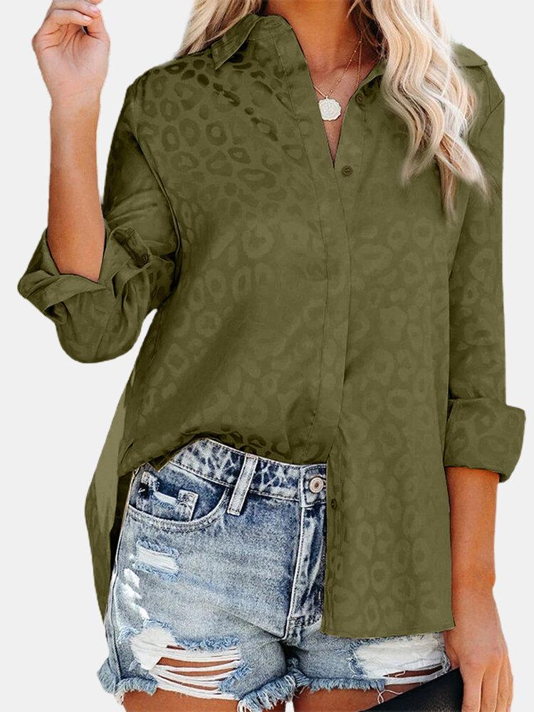 Casual Print Lapel Collar Long Sleeve Button Shirt