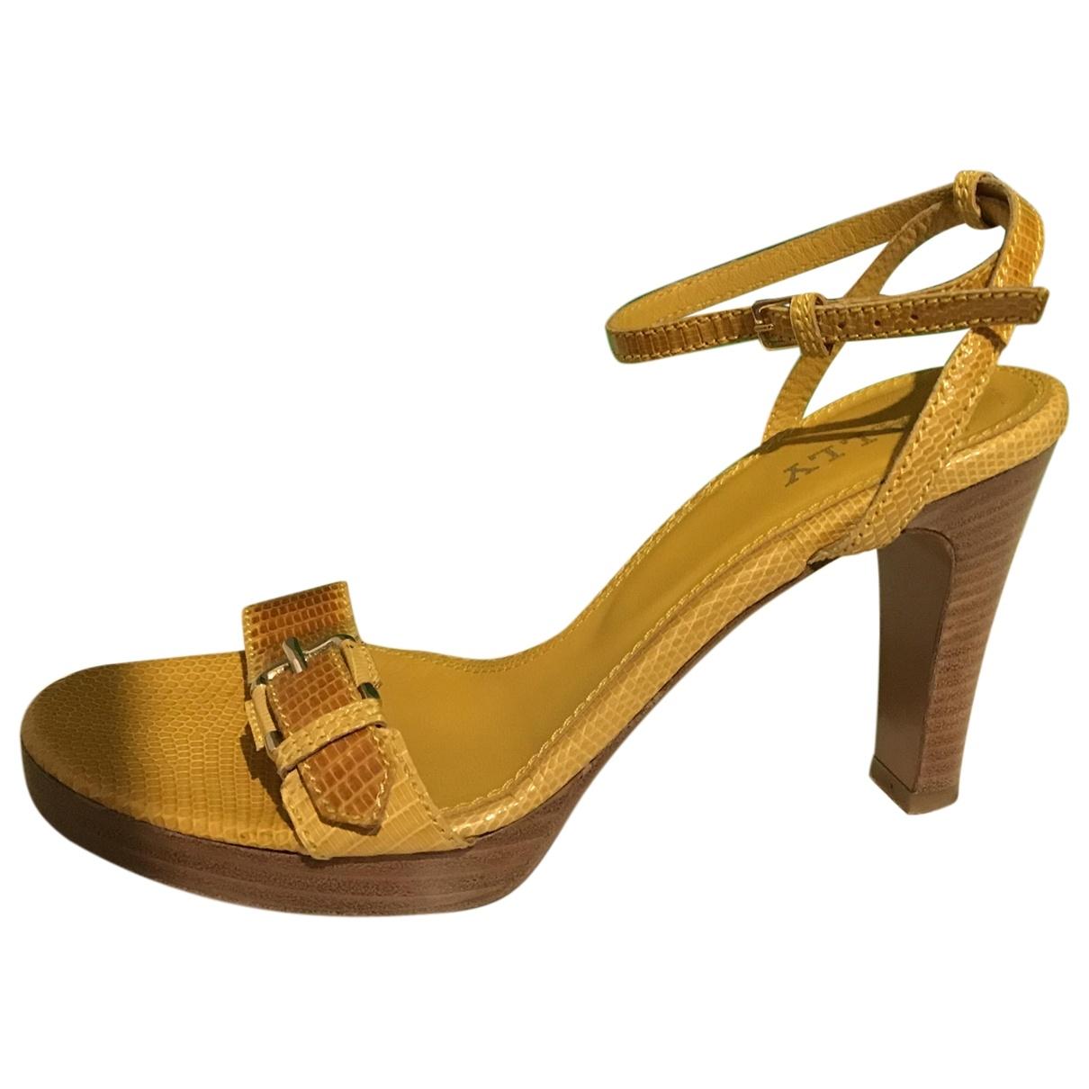 Bally - Sandales   pour femme en cuir - jaune