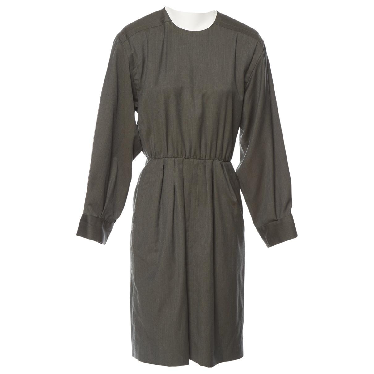 Yves Saint Laurent \N Kleid in  Khaki Wolle