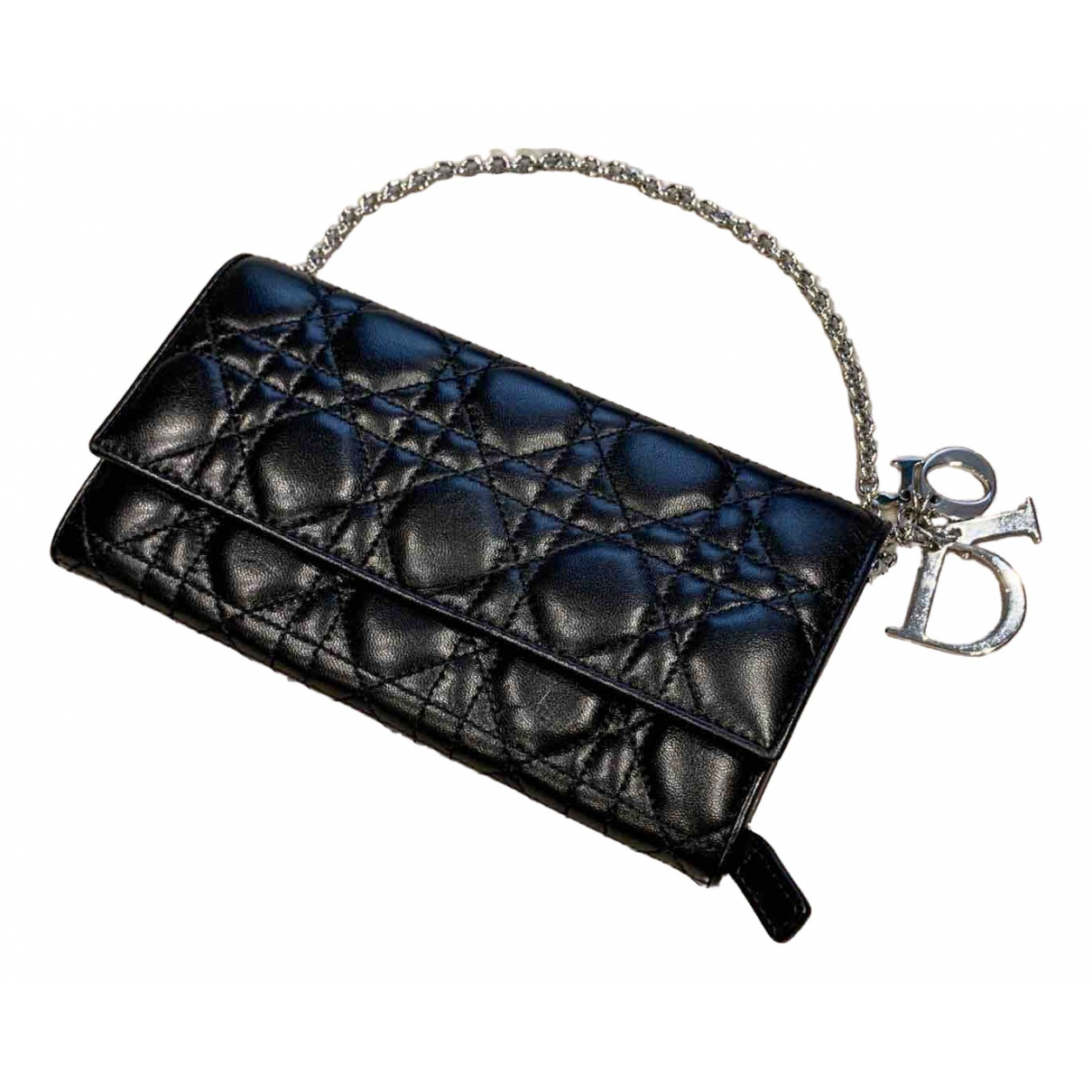 Dior Lady Dior Clutch in  Schwarz Leder
