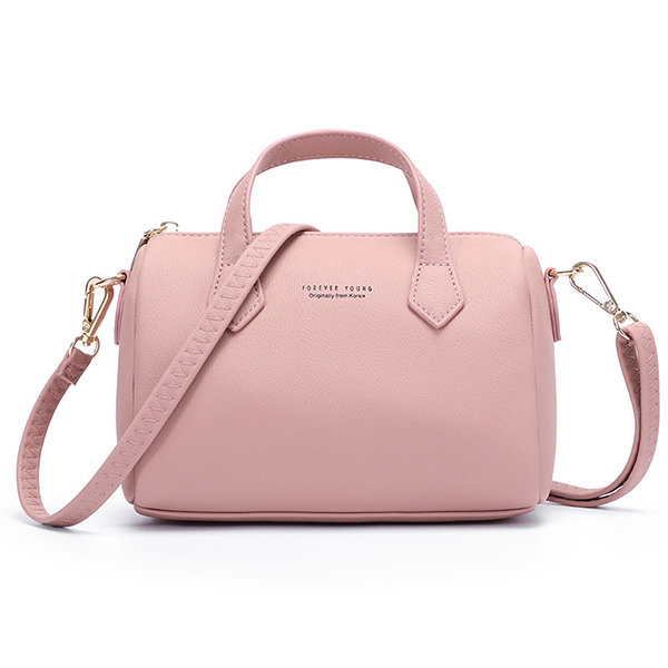 Women Solid PU Leather Boston Handbag Casual Crossbody Bag