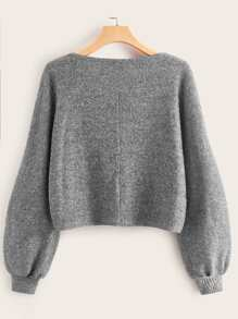 Lantern Sleeve Solid Crop Sweater