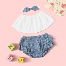 Baby Girl Tube Top & Ruffle Shorts & Headband
