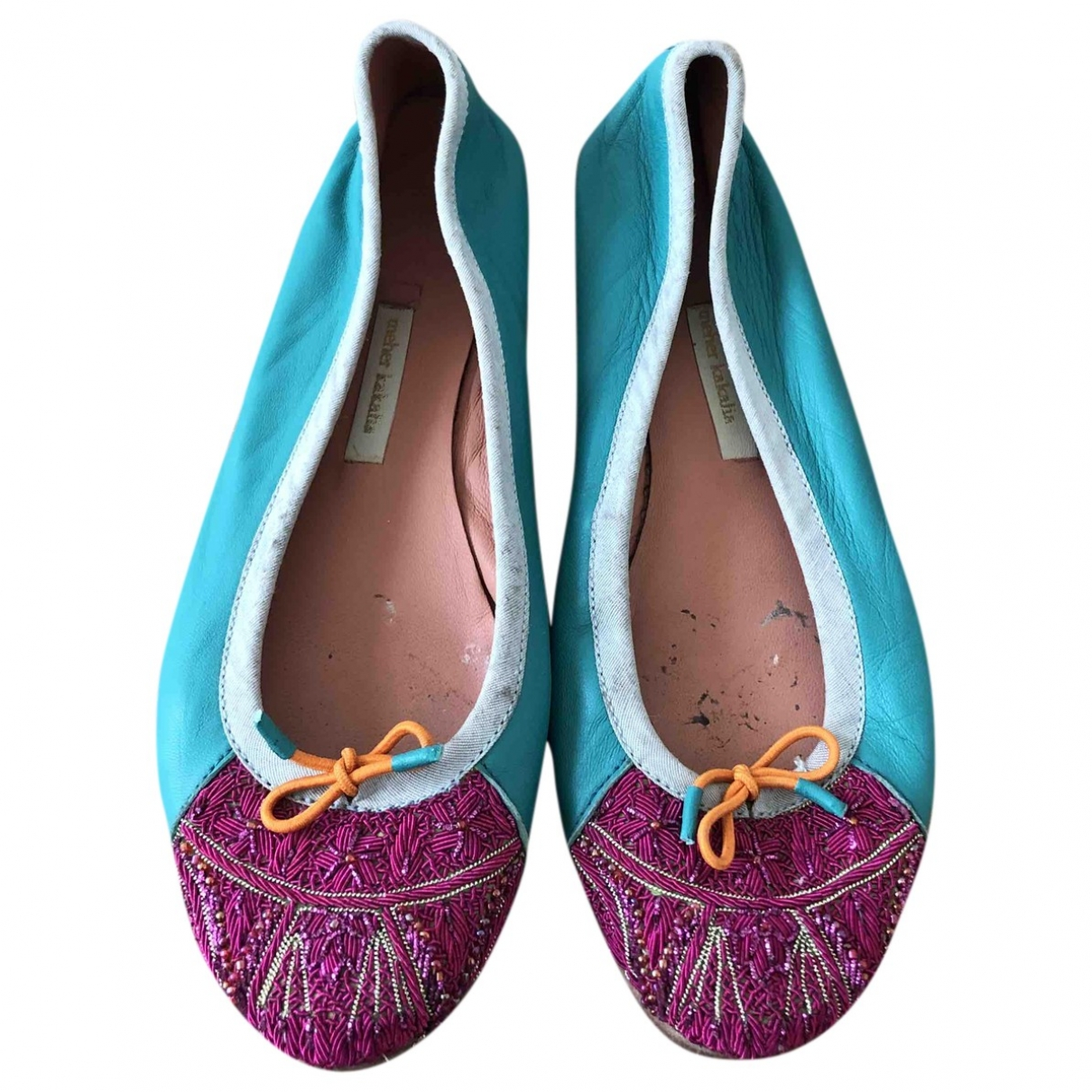 Meher Kakalia - Ballerines   pour femme en cuir - turquoise