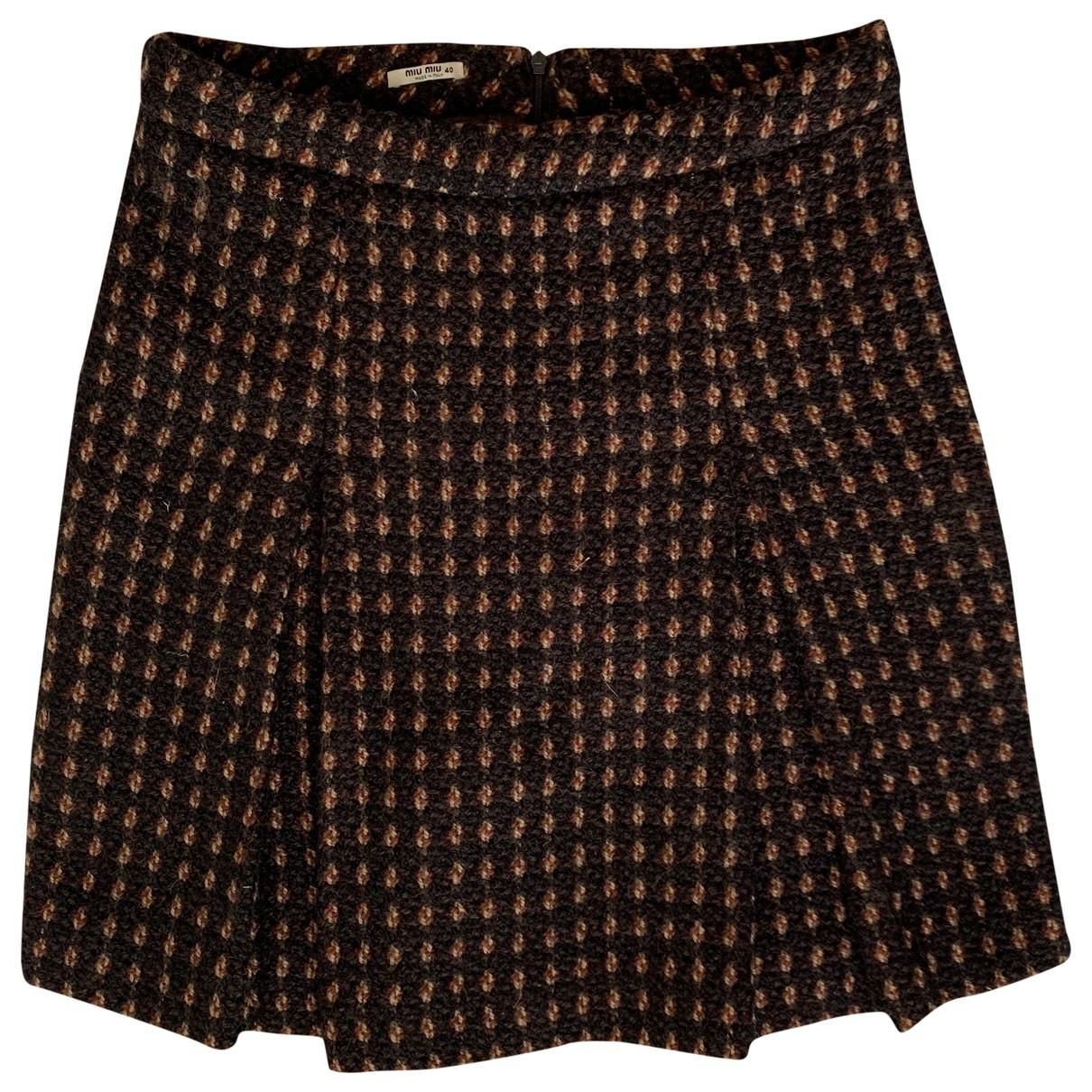 Miu Miu \N Brown Wool skirt for Women 40 IT