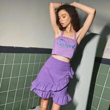 Gingham Print A-line Skirt