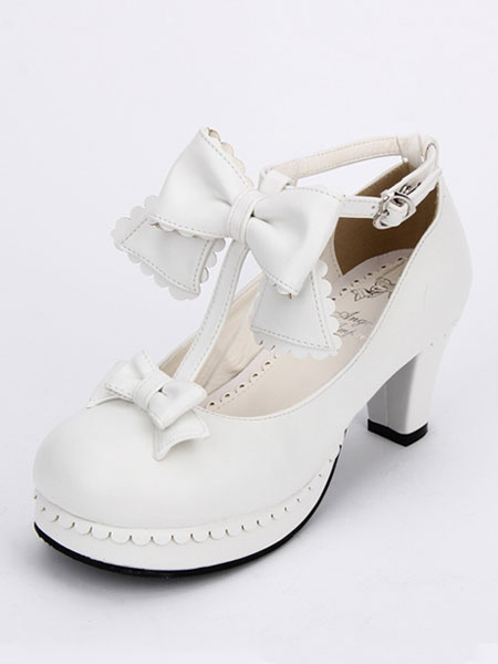 Milanoo Sweet Lolita Shoes White Round Toe Cone Heel T Strap Lolita Shoes
