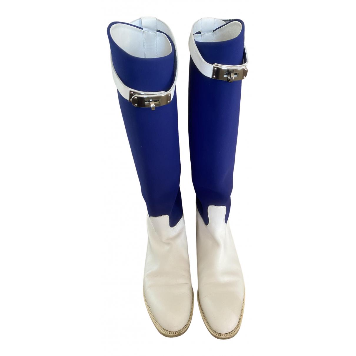 Hermes Jumping Stiefel in  Blau Leder