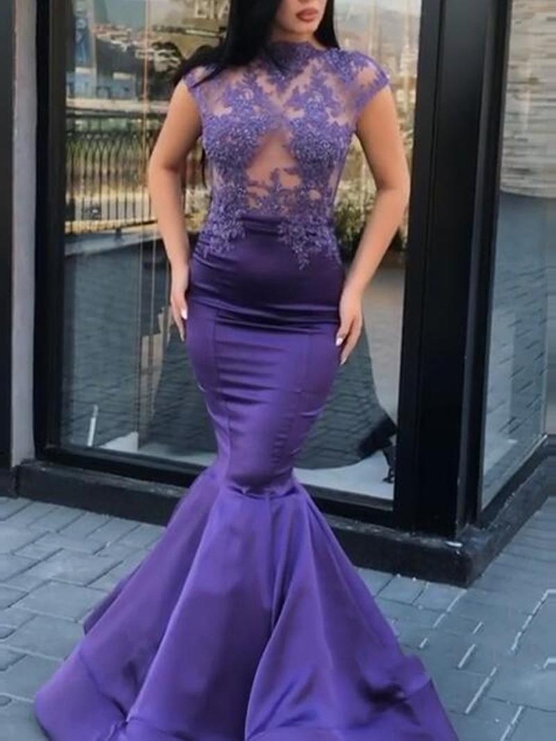 Ericdress Appliques High Neck Cap Sleeves Mermaid Evening Dress