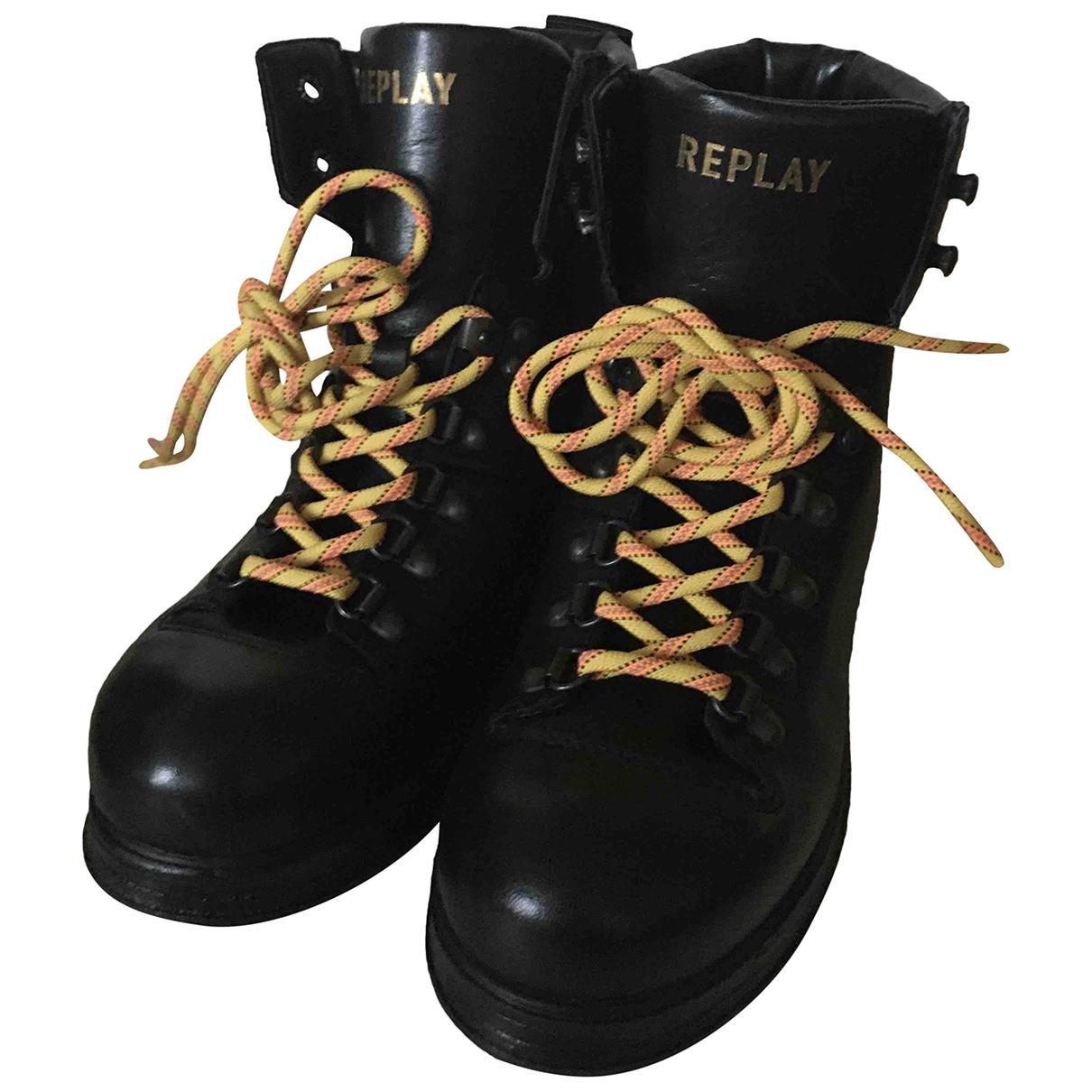 Replay - Bottes   pour femme en cuir - noir