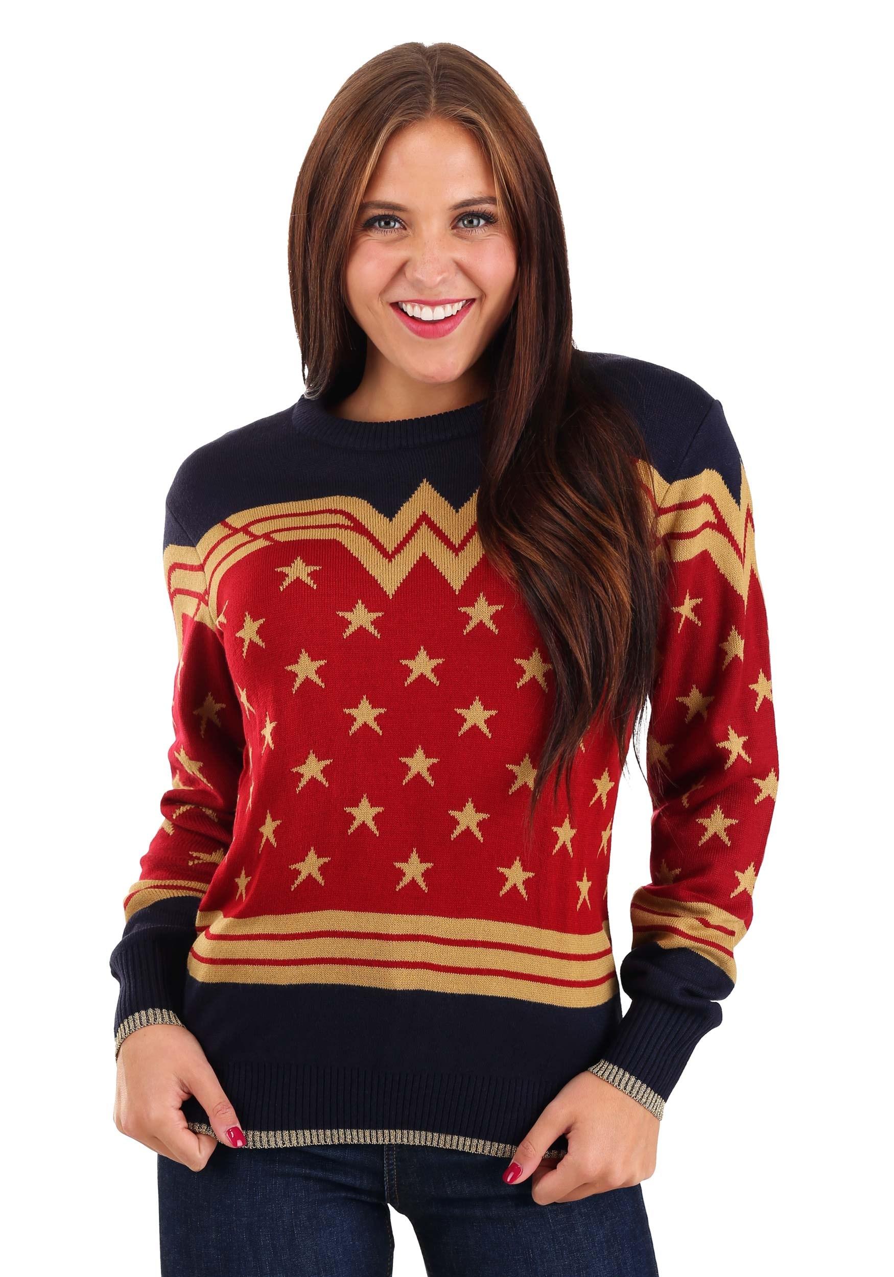 Dark Blue Wonder Woman Adult Ugly Christmas Sweater