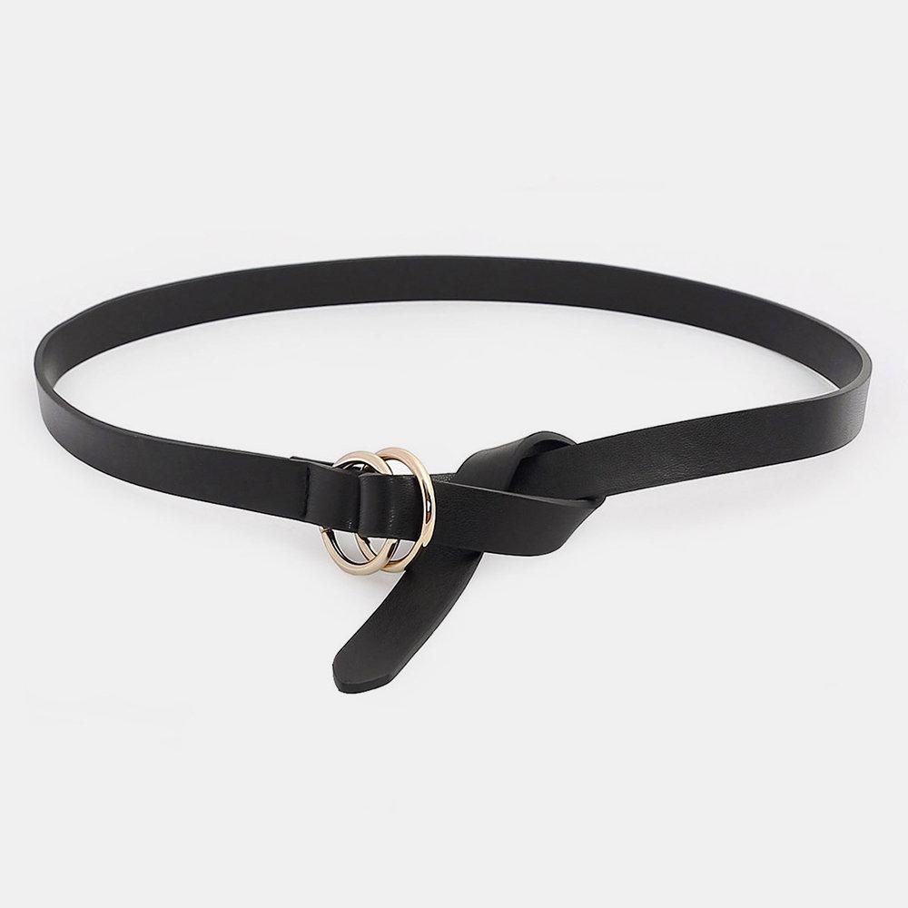 Women Double Loop Buckle & Three-ring Black Buckle Belt