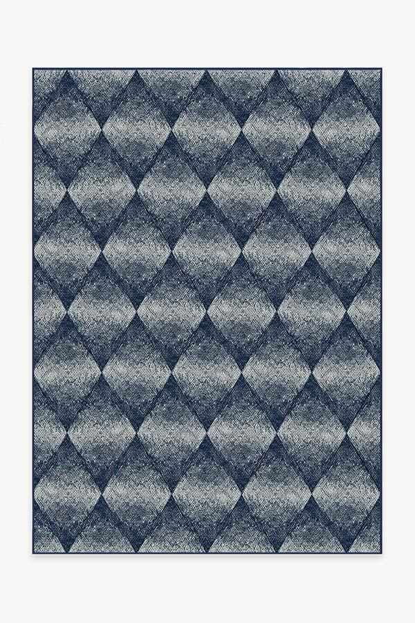 Washable Rug Cover & Pad | Outdoor Kumo Diamond Navy Rug | Stain-Resistant | Ruggable | 5'x7'