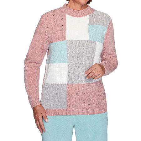 Alfred Dunner St Moritz Womens Mock Neck Long Sleeve Geometric Pullover Sweater, Petite Medium , Pink