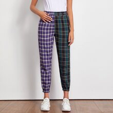 Pantalones de cintura elastica con estampado de tartan