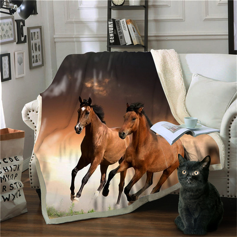 3D Running Horse Thick Warm Blanket Flannel Blankets Air Conditioning Fleece Blankets