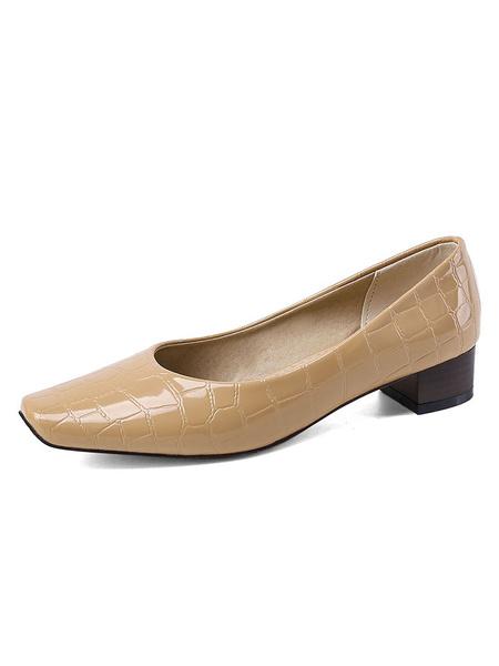 Milanoo Zapatos de tacon medio-bajo para mujer Tacon cuadrado Tacon cuadrado Bombas blancas