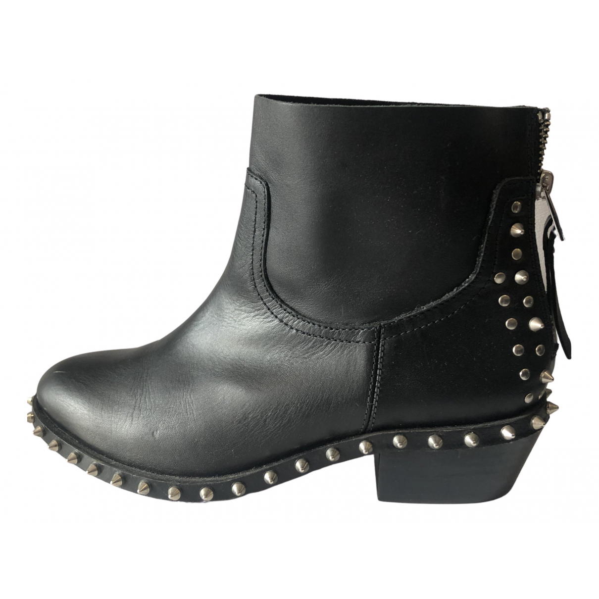 Zadig & Voltaire N Black Leather Ankle boots for Women 38 EU