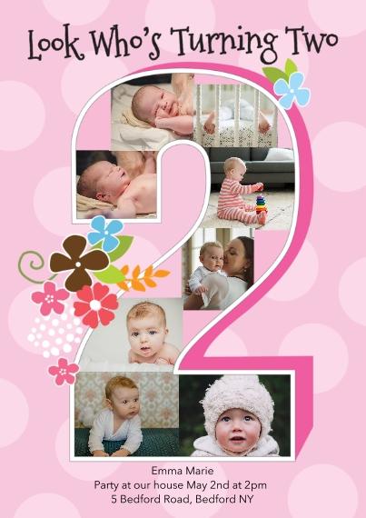 2nd Birthday Invitations 5x7 Cards, Premium Cardstock 120lb, Card & Stationery -Birthday Girl 8 Photoholes Year TWO