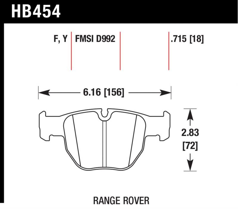 Hawk Performance HB454F.715 Disc Brake Pad Land Rover Range Rover Front 2003-2005