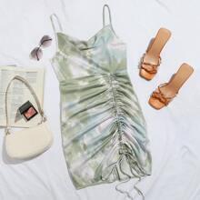 Kleid mit Kordelzug, Knoten und Batik
