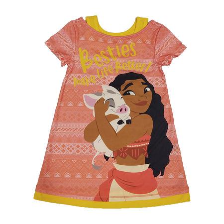 Disney Collection Little & Big Girls Moana Short Sleeve Crew Neck Nightshirt, 3 , Orange