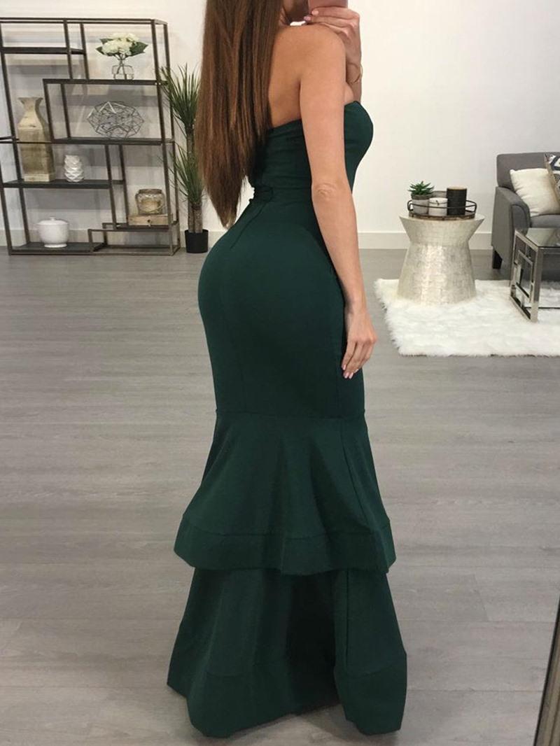 Ericdress Mermaid Ruffle Plain Floor Length Maxi Dress