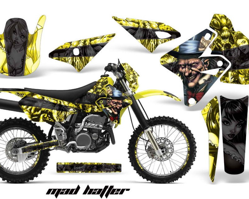 AMR Racing Graphics MX-NP-SUZ-DRZ400S-00-18-HAT K Y Kit Decal Sticker Wrap + # Plates For Suzuki DRZ400S 2000-2018 HATTER BLACK YELLOW