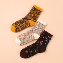 3pairs Paisley Pattern Socks
