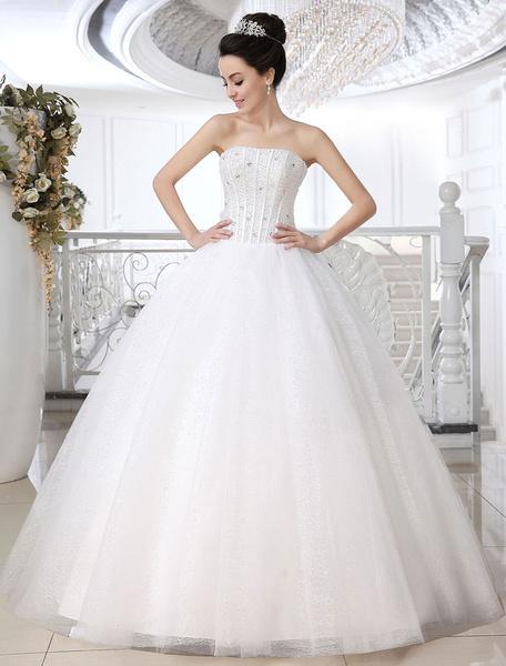 Milanoo White Ball Gown Strapless Strapless Beading Floor-Length Tulle Wedding Dress For Bride
