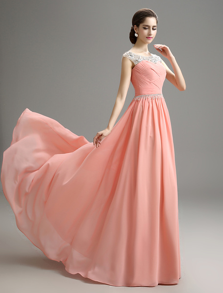 Milanoo Blush Pink Evening Dress Beaded Chiffon Party Dress A Line Pleated Plus Size Prom Dress With Sweep Train wedding guest dress