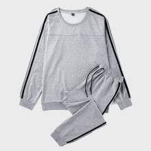 Sweatshirt mit seitlichem Streifen & Jogginghose mit Kordelzug