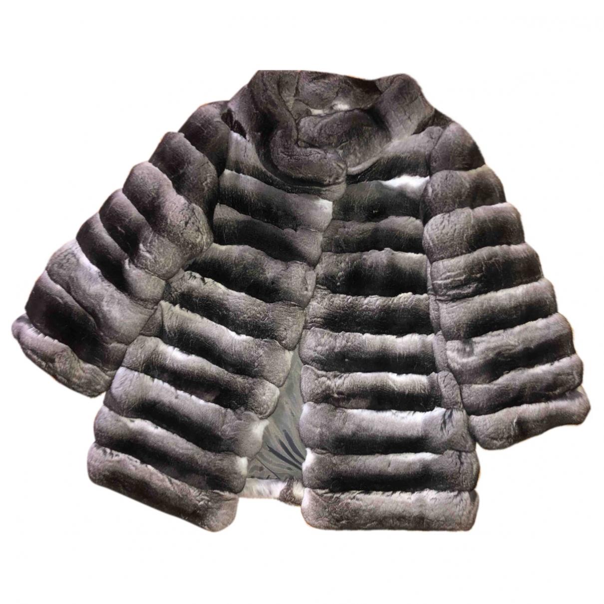 - Manteau   pour femme en chinchilla - gris