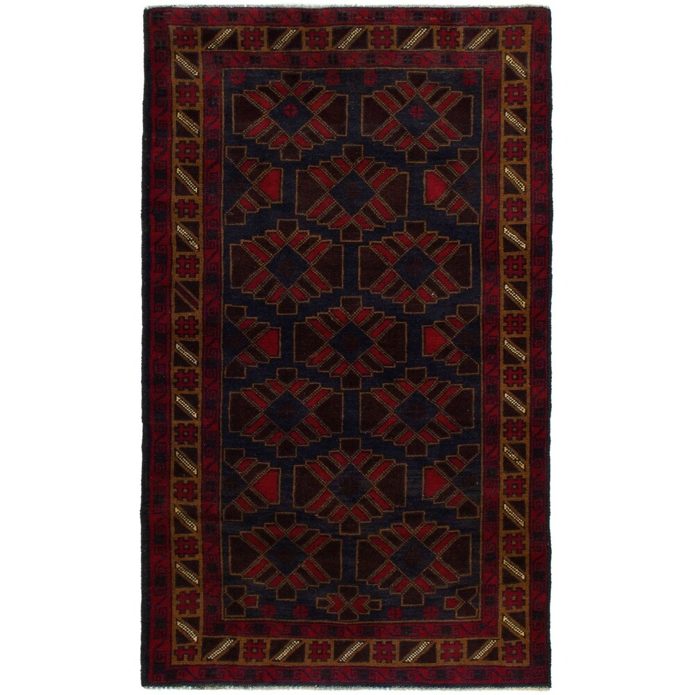 ECARPETGALLERY Hand-knotted Teimani Dark Navy, Red Wool Rug - 3'6 x 6'3 (Dark Navy/ Red - 3'6 x 6'3)
