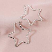 Textured Star Hoop Earrings