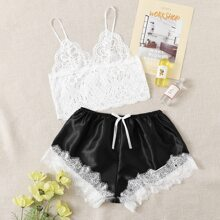 Lace Bralette & Satin Shorts