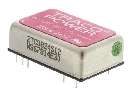 TRACOPOWER TEN 8 8W Isolated DC-DC Converter Through Hole, Voltage in 18 → 36 V dc, Voltage out 12V dc
