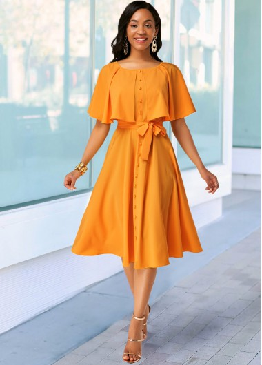Women'S Ginger Belted A Line Cocktail Party Spring Dress Solid Color Button Detail Round Neck Cute Midi Dress By Rosewe - 10