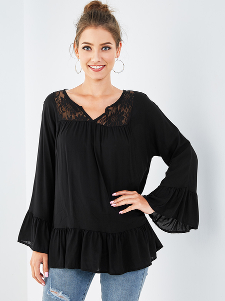Yoins Black Lace V-neck Long Sleeves Blouse