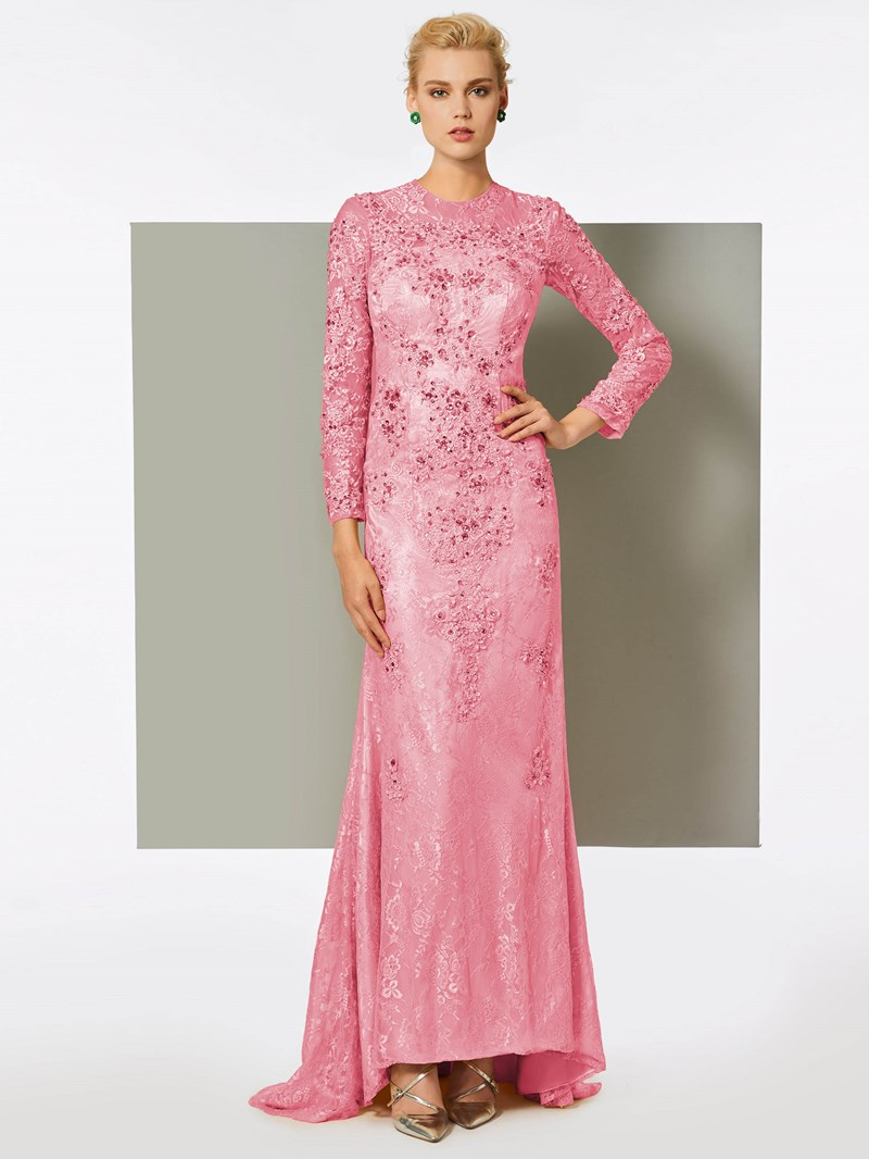 Ericdress Sheath Long Sleeve Lace Applique Long Evening Dress With Beadings