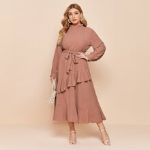 Plus Solid Ruffle Hem Belted Dress