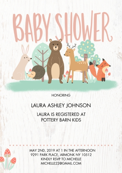Baby Shower Invitations 5x7 Cards, Standard Cardstock 85lb, Card & Stationery -Baby Shower Woodland by Tumbalina