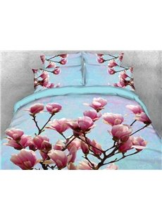 Pink Magnolia Flowers Warm Duvet Cover 3D Printed 4-Piece Floral Bedding Sets