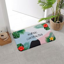 Flower Print Floor Mat