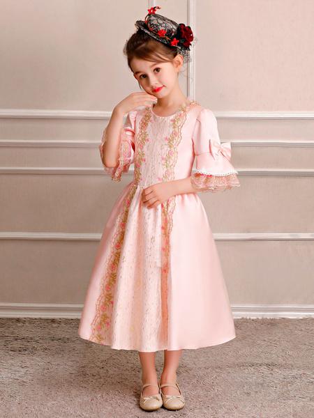 Milanoo Kids Retro Costume Halloween Little Girls Royal Rococo Dress Pink Bows Lace Satin Half Sleeve Vintage Wears