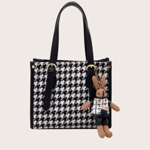 Houndstooth Buckle Decor Shoulder Bag With Toy Charm