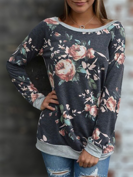 Yoins Dark Blue Floral Print Round Neck Long Sleeves T-shirt